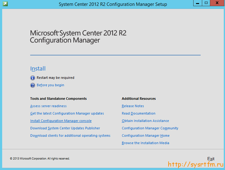 System Center Configuration Manager  2012 R2 Install